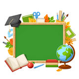 Vector background with chalkboard and school supplies. Royalty Free Stock Photo