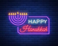 Vector background of Chanukah with menorah and star of David. Neon sign Happy sign of Hanukkah. An elegant greeting card Royalty Free Stock Photo
