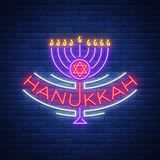 Vector background of Chanukah with menorah and star of David. Neon sign Happy sign of Hanukkah. An elegant greeting card Stock Photography