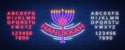 Vector background of Chanukah with menorah and star of David. Neon sign Happy sign of Hanukkah. An elegant greeting card Stock Images