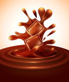 Vector background with chocolate pieces. Falling into melted chocolate vector illustration