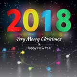 Vector background with christmas garland, Happy New Year 2018 background. Christmas lights vector illustration Stock Photos