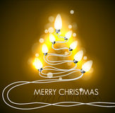Vector background with christmas tree and lights Royalty Free Stock Photos