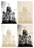 Vector background with church at engraving style Royalty Free Stock Photos