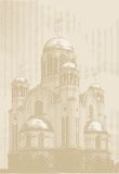 Vector background with church at engraving style Stock Photography
