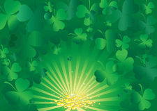 Vector background with clover leafs and coins. Vector background with clover leafs, gold coins and shapes Royalty Free Stock Images