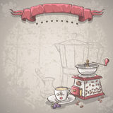 Vector background with a coffee grinder, cup and blackberries Royalty Free Stock Images