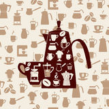 Vector background of Coffee icons Set Royalty Free Stock Photo
