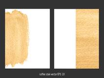Vector background with coffee stain watercolor. Stock Images