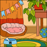 Vector background, color illustration, room for dog Stock Photos