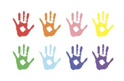 Vector background, color prints of hands symbolizes friendship. colored palms in paint. Colored palms in paint. Vector background, color prints of hands Royalty Free Illustration