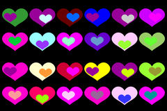 Vector background with colored hearts. Vector background with colored hearts on a black background Royalty Free Stock Photo