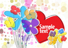 Vector background with colorful. Flowers and red heart Royalty Free Stock Photography