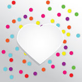 Vector background with colorful round confetti and paper heart. Design template with place for your text. Greeting card, banner, flyer, celebration background Royalty Free Stock Image