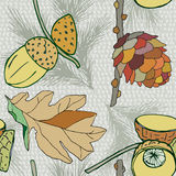 Vector background with cone and acorns and leaves, autumn  background, decorative seamless plants Royalty Free Stock Photos