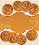 Vector background with  cookies sprinkled. With sesame seeds and sugar Royalty Free Stock Photo