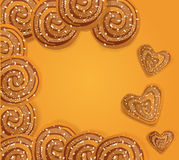 Vector background  with cookies sprinkled. With sesame seeds and sugar Stock Photos