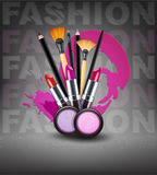 Vector background with cosmetics and make-up objects. (Flyer tem Royalty Free Stock Photos