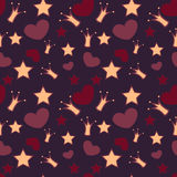 Vector background with crowns, stars and hearts Royalty Free Stock Photo