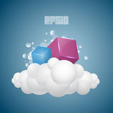 Background with cubes on cloud Stock Photos