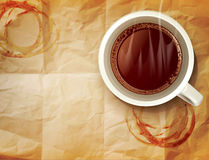 Vector background with a cup of coffee Stock Images