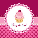 Vector background with cupcake and lace. Royalty Free Stock Image