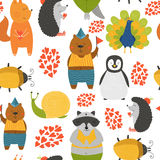 Vector background with cute animals. Cartoon raccoon, snail, penguin, peafowl; squirrel, bear, beetle and hedgehog isolated on white background with love Royalty Free Stock Photos