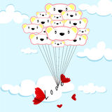Vector background cute bear balloons and love text in the azure sky Royalty Free Stock Images