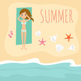 Vector background with cute beautiful young girl resting on the beach Stock Images