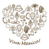Vector background with cute hand drawn objects in Stock Photos