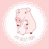 Vector background with cute pigs Stock Photos