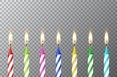 Vector background with 3d realistic different birthday party colofful wax paraffin burning cake candle set closeup. Isolated on transparency grid. Design Royalty Free Stock Photo