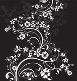 The vector background with decorative flowers. Vector illustration. Floral design on black. Vector illustration EPS 10 Stock Illustration