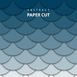 Vector background with deep blue gradient color paper cut shapes vector illustration