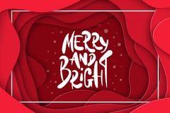 Vector background with deep red color paper cut shapes. 3D abstract Merry and Bright, Christmas lettering, design layout. For greeting cards, posters, prints royalty free illustration