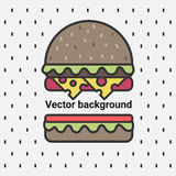 Vector background, delicious burger. Royalty Free Stock Photos