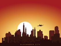 Vector background design city skyline of alexandria egypt with airplane flying above the city and sun rise royalty free illustration