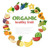 Vector background with diet and organic fruits Royalty Free Stock Photos