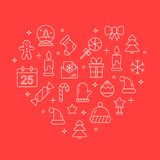 Vector background with different christmas and new year celebration elements. Stock Images