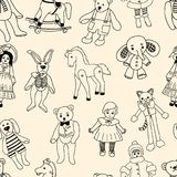 Pattern of the various old toys. Vector background of the different vintage toys Royalty Free Stock Photography