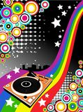 Vector background with Dj turntable Stock Photos