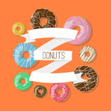 Vector background with donuts illustration and ribbons on the orange background. Doughnut banner in cartoon style Royalty Free Stock Image