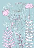 Background with drawing herbs and flowers. Vector background with doodle abstract herbs and flowers, floral template Stock Photo
