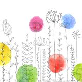 Background with drawing herbs and flowers. Vector background with doodle abstract herbs and flowers and watercolor paint stains, floral template royalty free illustration