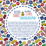 Vector background of doodles road signs and cars. Royalty Free Stock Photos