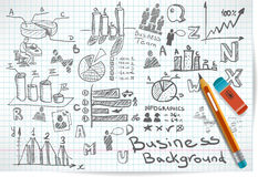 Vector background of doodles and sketches. On the theme of business Royalty Free Stock Photo