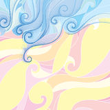 Vector background with dotted swirls and blue curly lines on the pastel wavy background. Summer background with waves and dots. Stock Photo