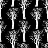 Seamless patten of trees silhouettes. Vector background of drawn abstract trees stock illustration