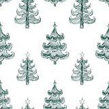 Vector background of drawn christmas trees. Seamless pattern of abstract christmas trees stock illustration