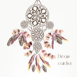 Vector background with dream catcher from colorful feathers Royalty Free Stock Photos